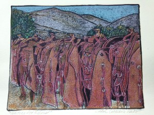 Waiting for Riders, Carol Catalano Webb, blockprint