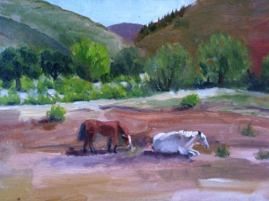 Mikes preliminary painting of RLB horses