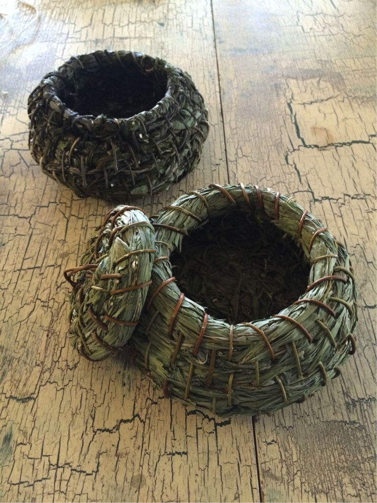 Back, olla by E. Parry, Front, olla by Virginia Melendez, Kumiai Basketry Instructor